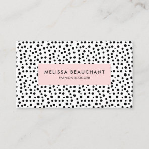 Modern Stylish Pink & Black Dots | Custom Colour Business Card