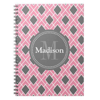 Modern Stylish Pink Grey Diamond Pattern Notebooks