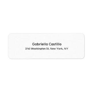 Modern Stylish Professional Trendy Simple White Return Address Label