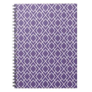 Modern Stylish Purple Diamond Pattern Notebooks