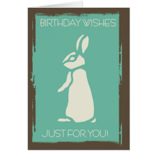 Modern Stylish Rabbit With Grunge Edges Greeting Card