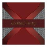 Modern Stylish Red & Black Cocktail Party Invitati 13 Cm X 13 Cm Square Invitation Card