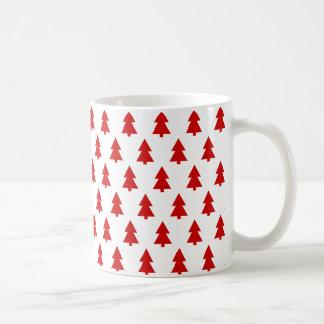 Modern Stylish Red White Tree Pattern Coffee Mugs