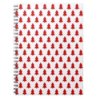 Modern Stylish Red White Tree Pattern Notebook