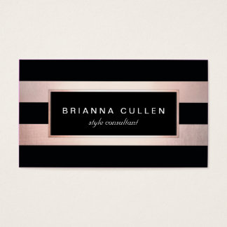 Modern Stylish Rose Gold Black Striped 2 Business Card