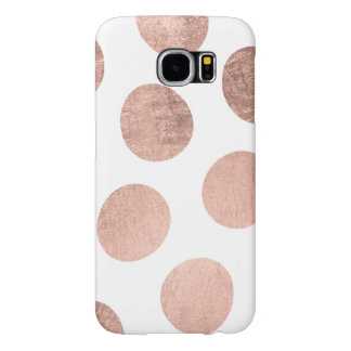 Modern stylish rose gold hand drawn big polka dots samsung galaxy s6 cases