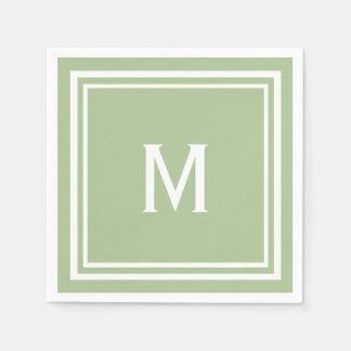 Modern Stylish Sage Green Custom Monogram Disposable Serviette