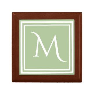 Modern Stylish Sage Green Custom Monogram Small Square Gift Box