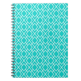 Modern Stylish Teal Blue Diamond Pattern Spiral Note Book