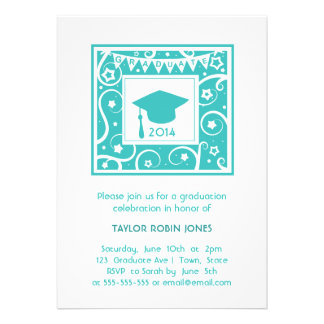 Modern Stylish teal blue graduation invitation