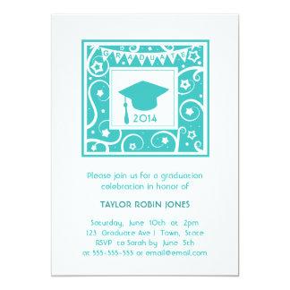Modern & Stylish teal blue graduation invitation