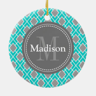 Modern Stylish Teal Blue Grey Diamond Pattern Christmas Ornament