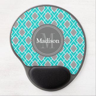 Modern Stylish Teal Blue Grey Diamond Pattern Gel Mouse Pad