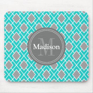Modern Stylish Teal Blue Grey Diamond Pattern Mouse Mat