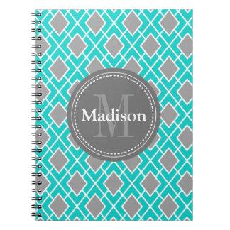 Modern Stylish Teal Grey Diamond Pattern Spiral Notebook