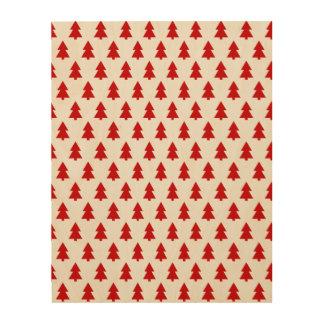 Modern Stylish Tree Pattern Red Wood Print