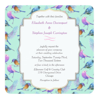 Modern Stylish Watercolor Birds Wedding Card