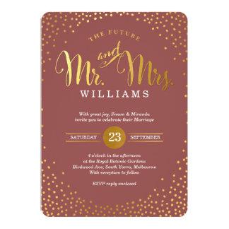 MODERN STYLISH WEDDING mini gold confetti marsala Card