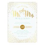MODERN STYLISH WEDDING mini silver confetti mint 13 Cm X 18 Cm Invitation Card