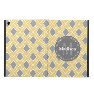 Modern Stylish Yellow Grey Diamond Pattern Case For iPad Air