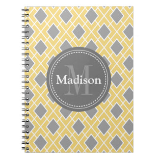 Modern Stylish Yellow Grey Diamond Pattern Note Books