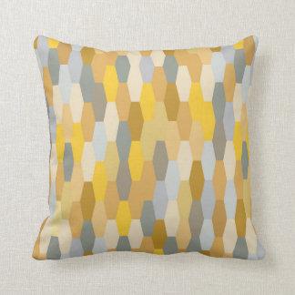 Modern Summer Geometric Pattern Yellow Grey Throw Pillow