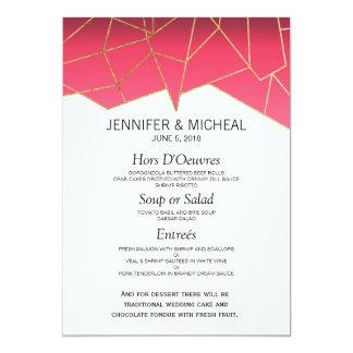 Modern Summer Gradient Gold Geo Wedding Menu 13 Cm X 18 Cm Invitation Card