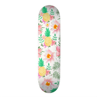 Modern summer pink yellow tropical floral pattern 20 cm skateboard deck