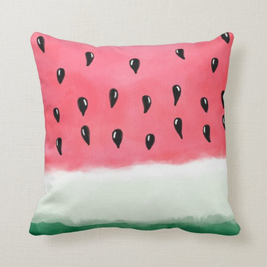 Modern summer red green watercolor watermelon throw pillow