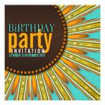 Modern Sunflower Mint Orange Birthday Party Invite
