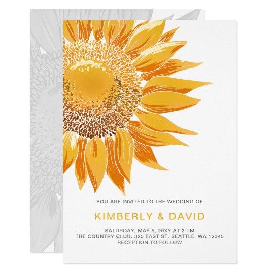 Modern SunFlower Wedding Invitations