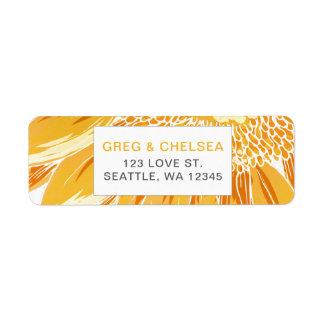 Modern SunFlower Wedding Return Address Label