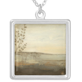 Modern Sunset Landscape Oil Painting Silver Plated Necklace