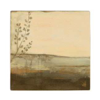 Modern Sunset Landscape Oil Painting Wood Coaster