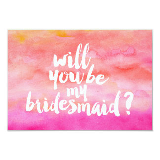 Modern sunset watercolor Will you be my Bridesmaid Card