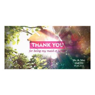 Modern Sunshine Leaf Bridesmaid Thank You Card Photo Cards