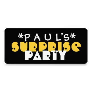 Modern SURPRISE Birthday Party BLACK and GOLD A04A Personalized Invitations
