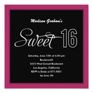 Modern Sweet 16 Invitations (Customizable Color) Personalized Invite