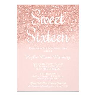 Modern Sweet 16 Rose Gold Glitter Peach Pink Card