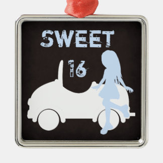 Modern Sweet 16 Silhouette Girl and Car Silver-Colored Square Decoration