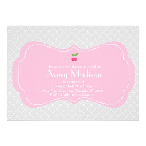 Modern & Sweet Cherry Invitation - Pink and grey