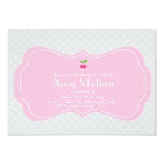 "Modern & Sweet Cherry Invitation - Pink and grey 5"" X 7"" Invitation Card"