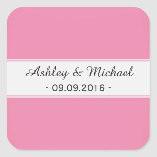 Modern Sweet Pink Save the Date Square Sticker