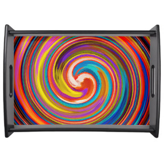 Modern Swirl Abstract Art #15 Serving Tray