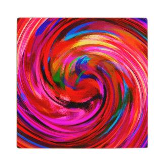 Modern Swirl Abstract Art #9 Maple Wood Coaster