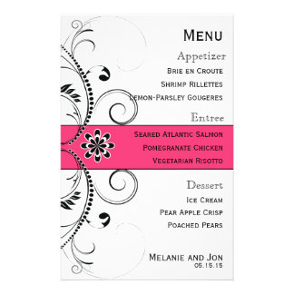Modern Swirl Filigree Wedding Menu Stationery 14 Cm X 21.5 Cm Flyer
