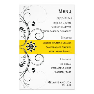 Modern Swirl Filigree Wedding Menu Stationery Personalized Flyer
