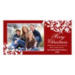 Modern Swirl Flourish Christmas Red and White Photo Cards