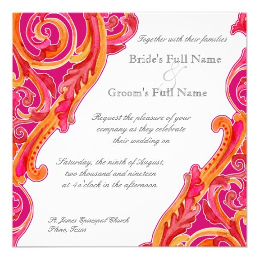Modern Swirl Flourish Heart Tangerine Hot Pink Custom Invite