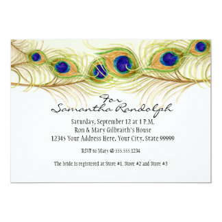 Modern Swirl Peacock Feathers Bridal Shower Invite